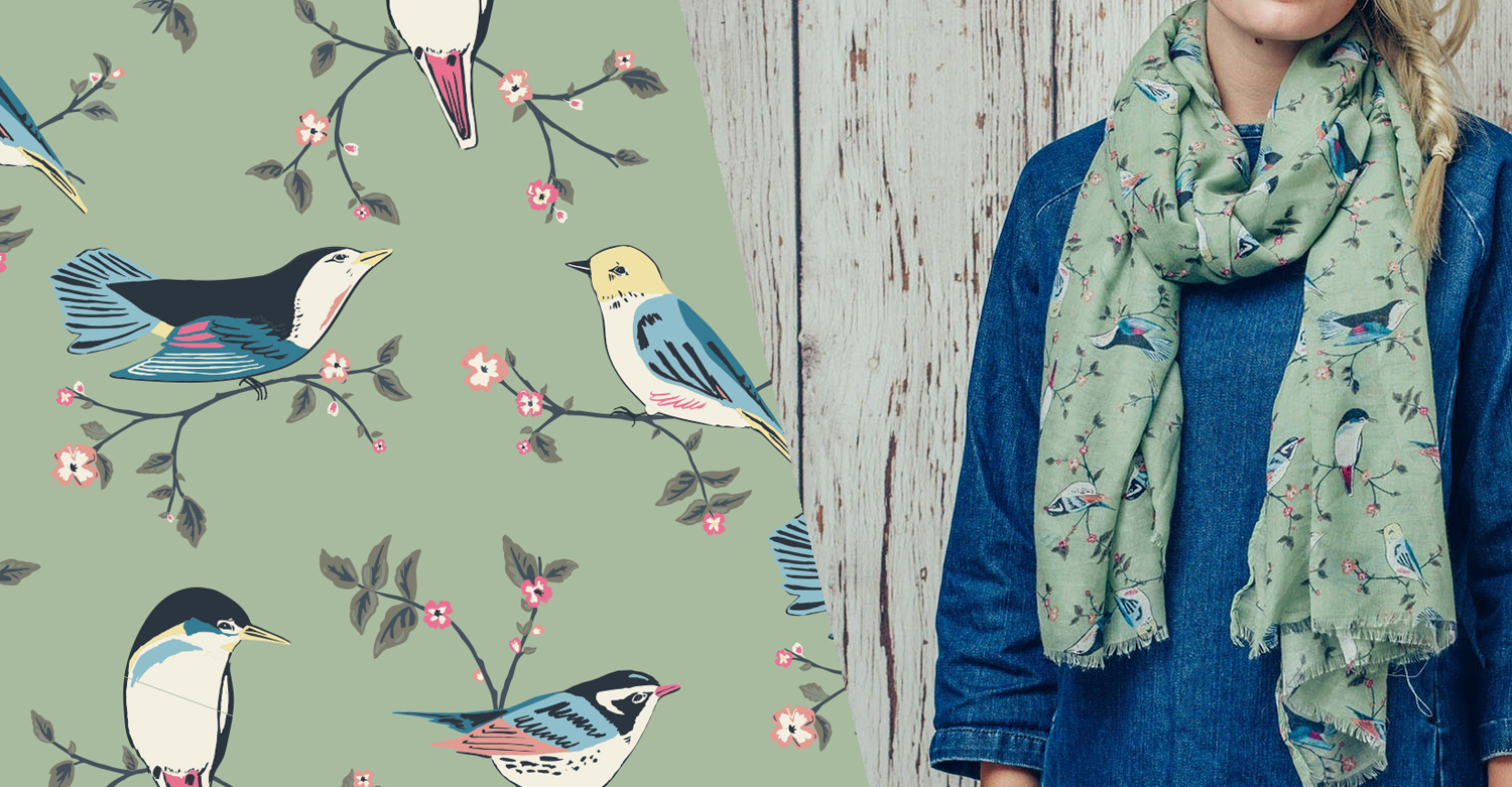 Surface Pattern Print - garden bird green scarf design for F&J collection AW17