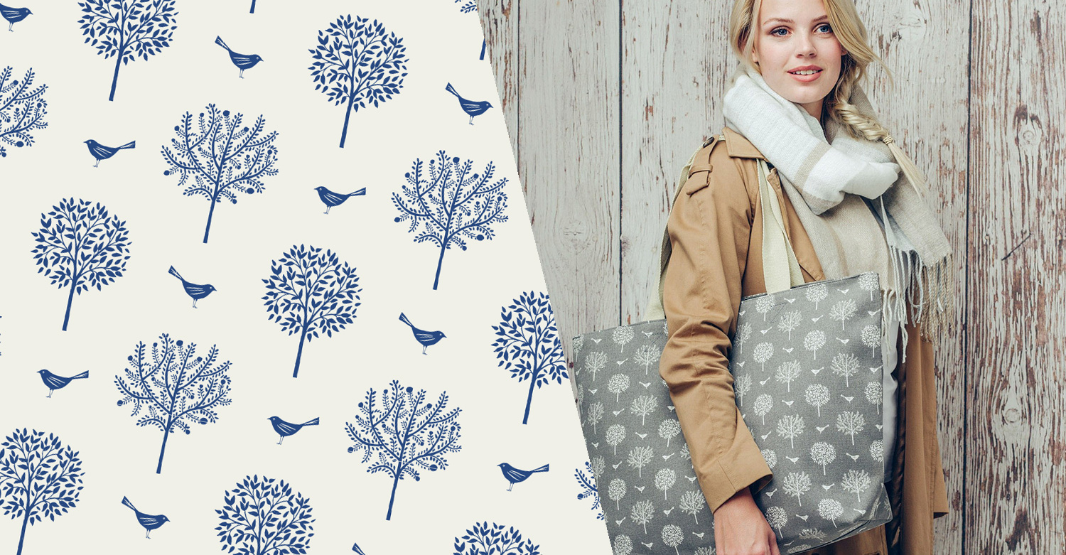 Surface Pattern Print - Tree and bird pattern design for scarf and bags AW17