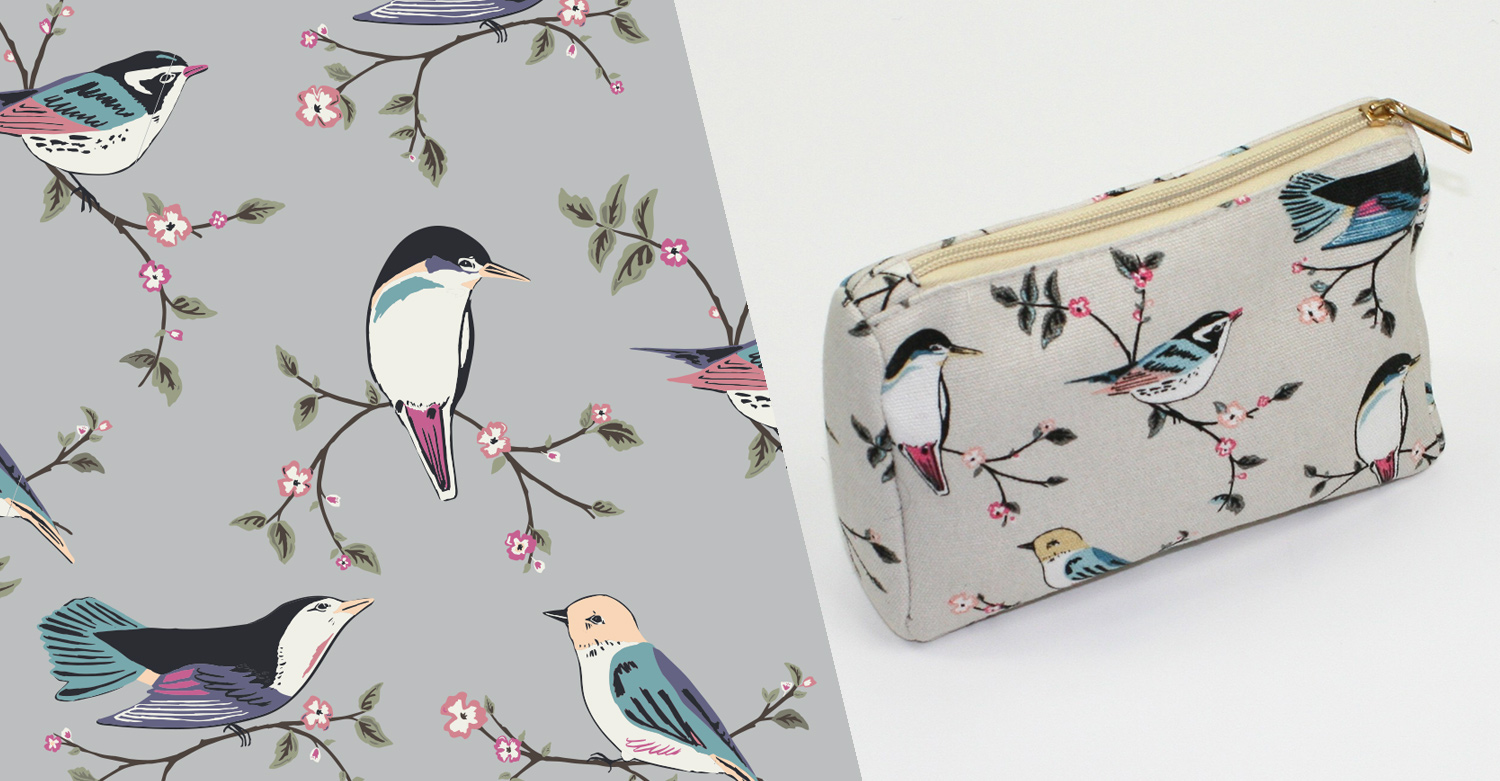 Surface Pattern Print - bird design for makeup bag F&J collection AW 2017