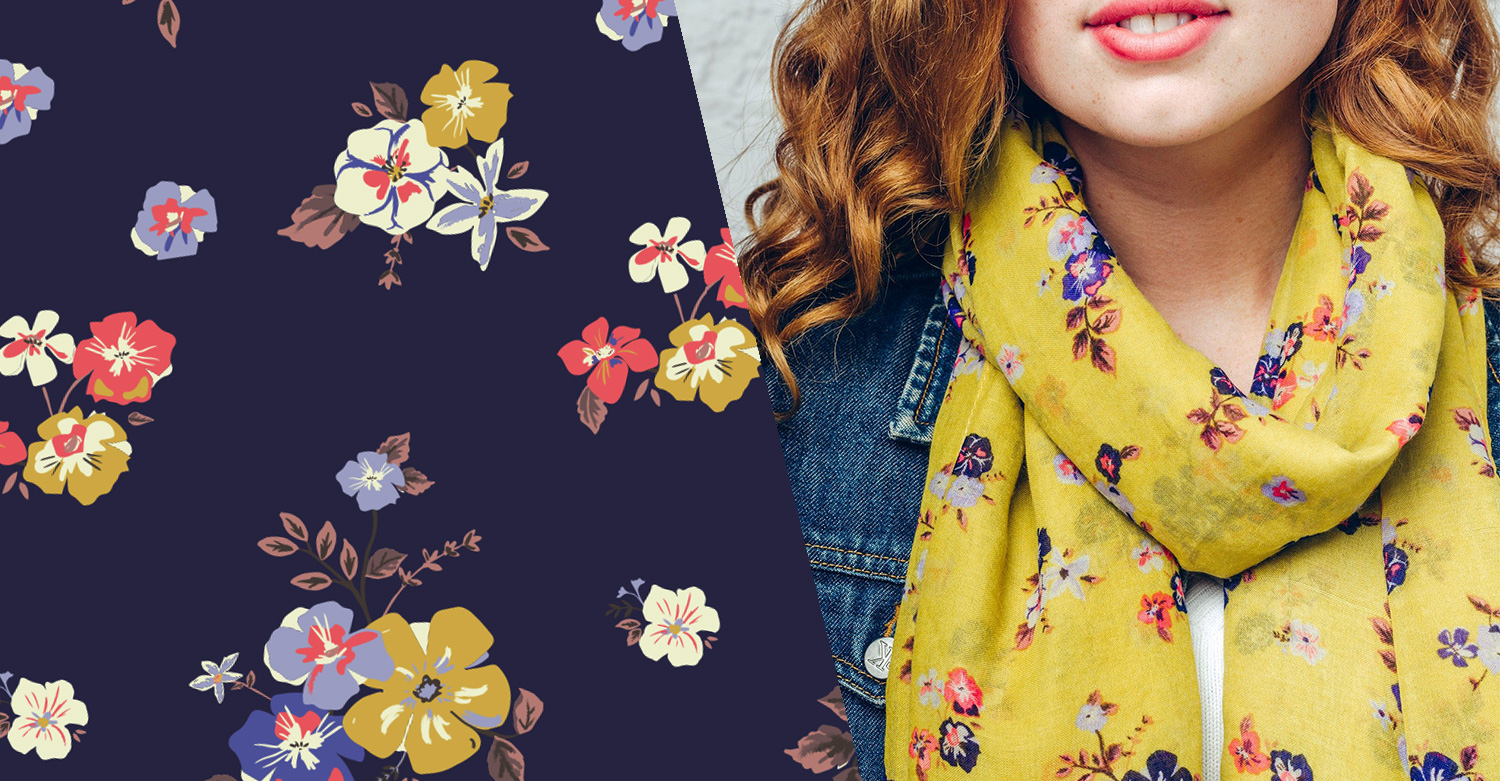 cath kidson style floral pattern design mustard yellow AW17
