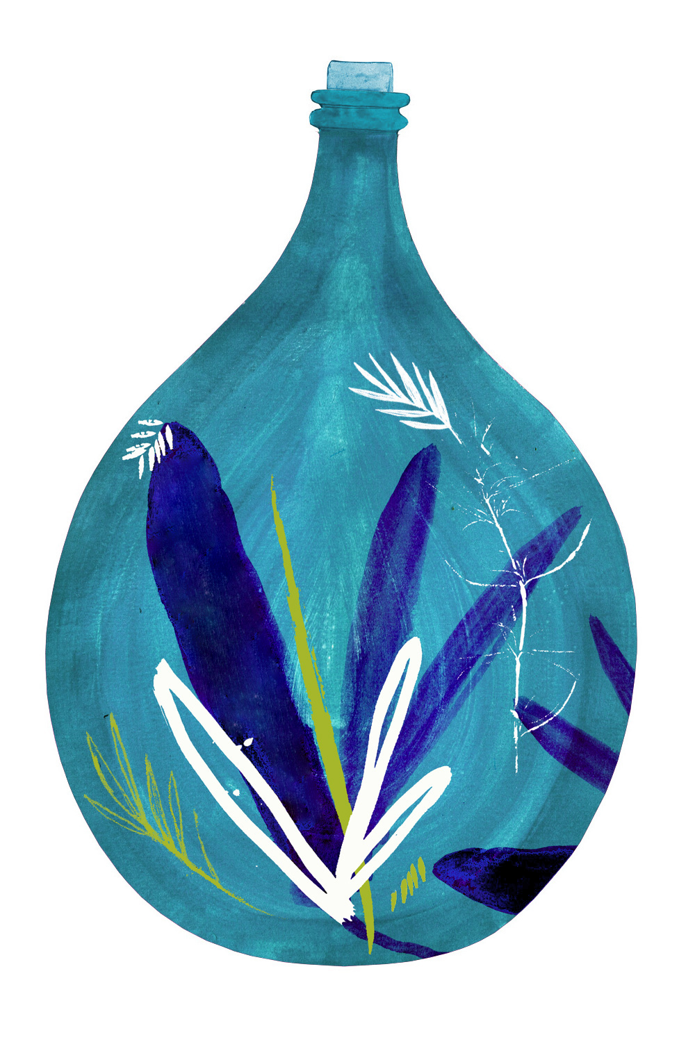 Made For life Organics Blue Demijohn hand painted illustration by Wild Bear Designs