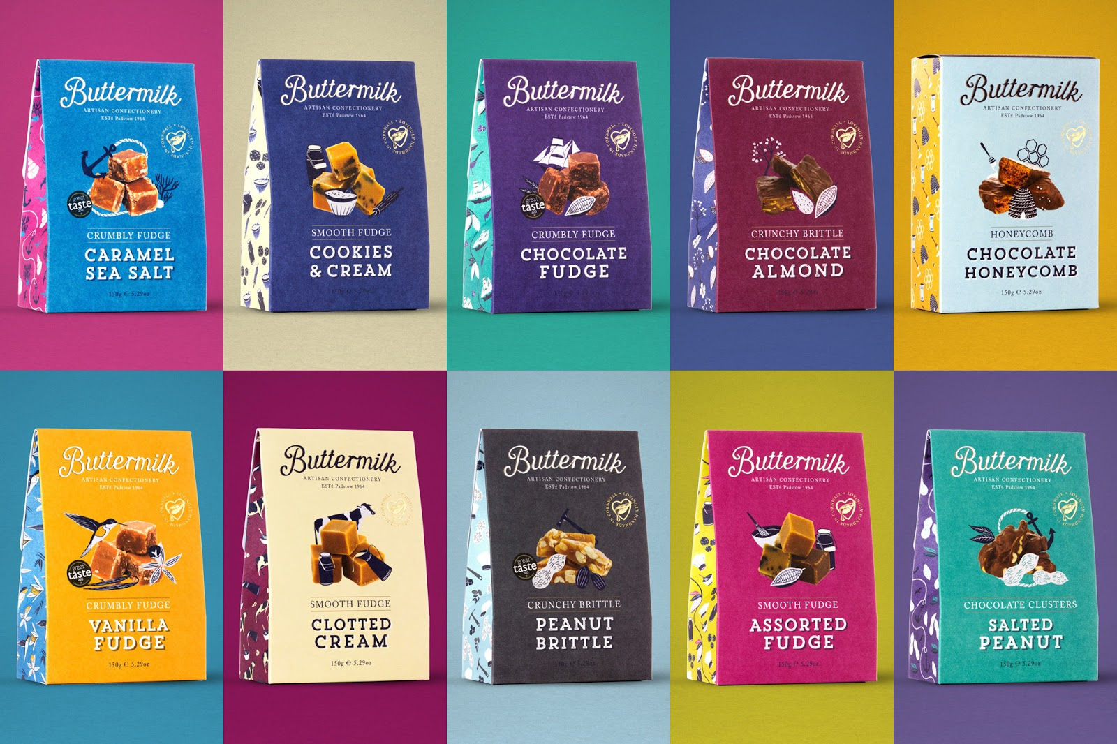 Buttermilk Confectionery, Fudge Packaging Design illustration
