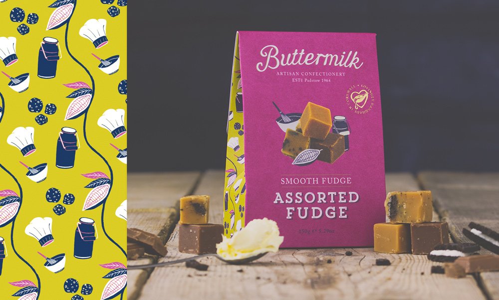 Assorted fudge packaging design for Buttermilk Confectionery