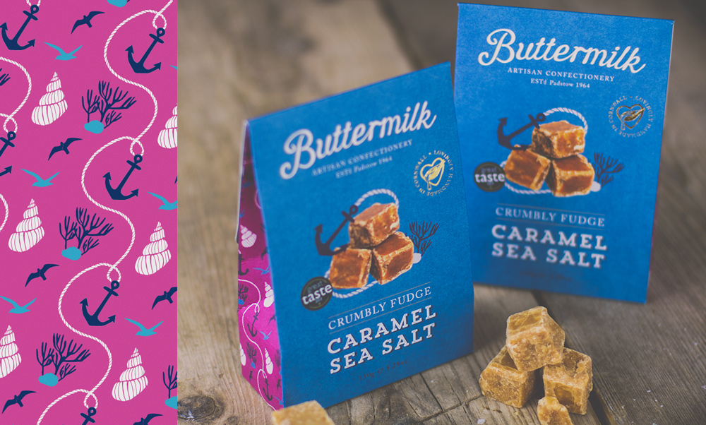 Buttermilk Confectionery Caramel Sea salt Fudge Packaging Design