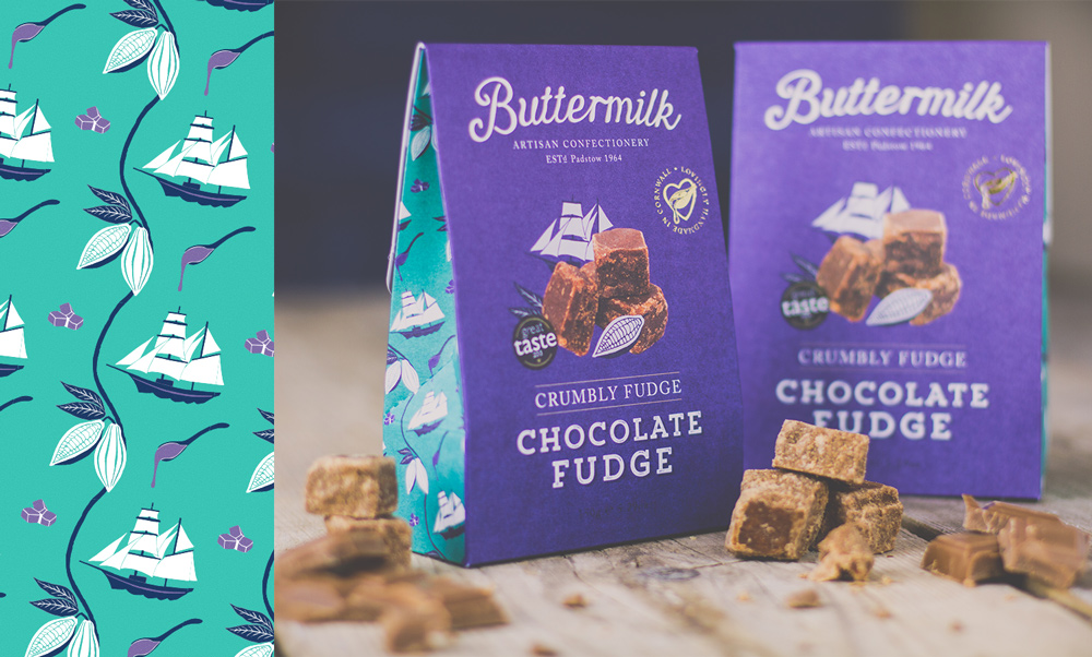 Buttermilk Confectionary Fudge Packaging Design illustration of sail ship and cocoa pods