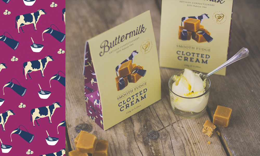 Buttermilk Confectionary Fudge Packaging Design for the clotted cream fudge