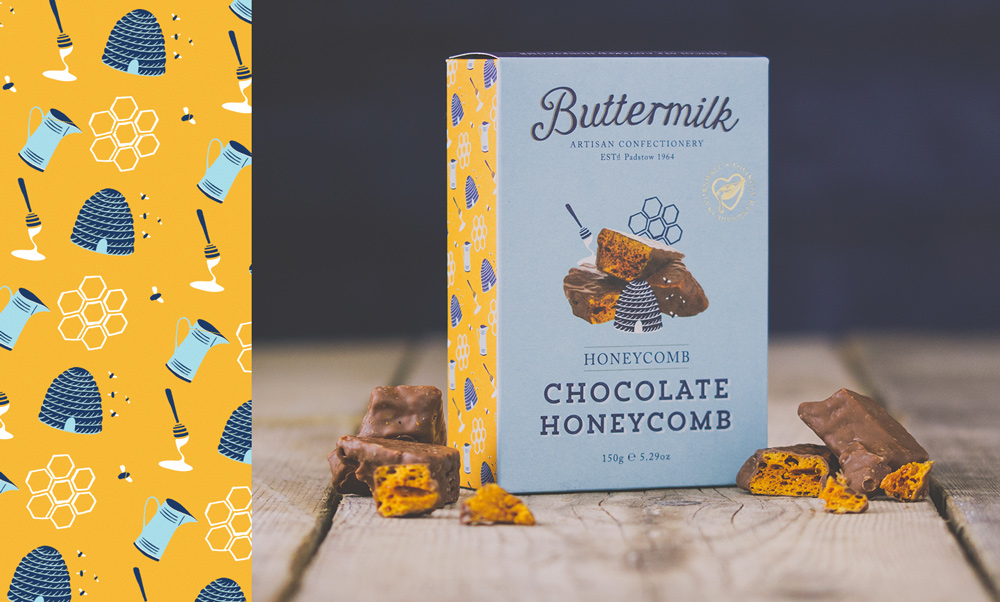 Buttermilk Confectionery, honeycomb, Fudge Packaging Design illustration Pattern Design