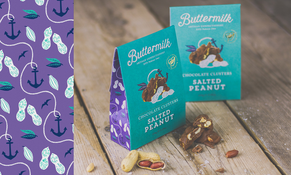 Buttermilk Confectionary Fudge Packaging Design illustration Pattern Design Kingdom & Sparrow