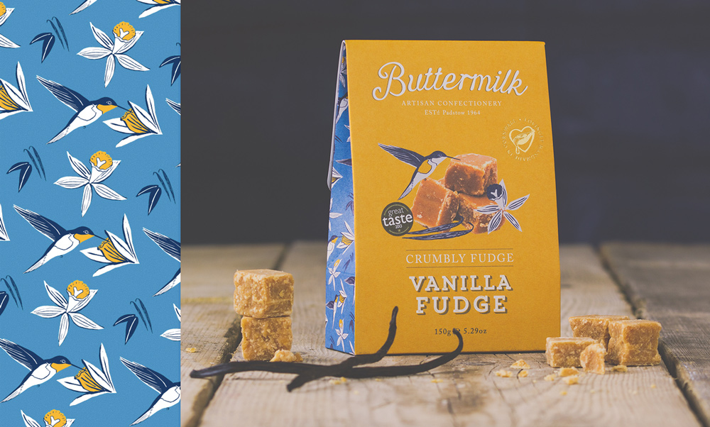 Buttermilk Confectionary vanilla Fudge Packaging Design illustration Pattern Design Kingdom & Sparrow