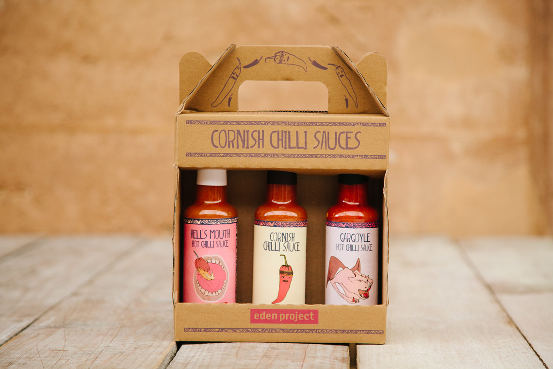 Eden Project Chilli Sauce in gift box, packaging design
