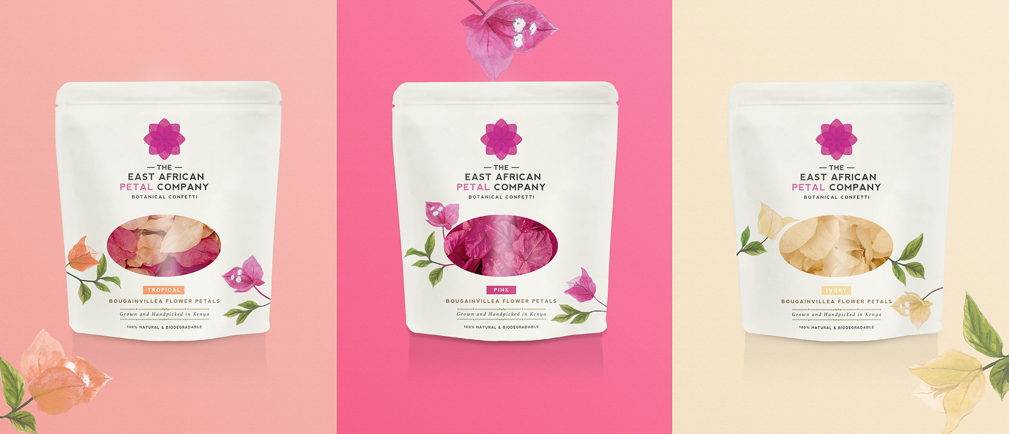 East African petal confetti packaging range