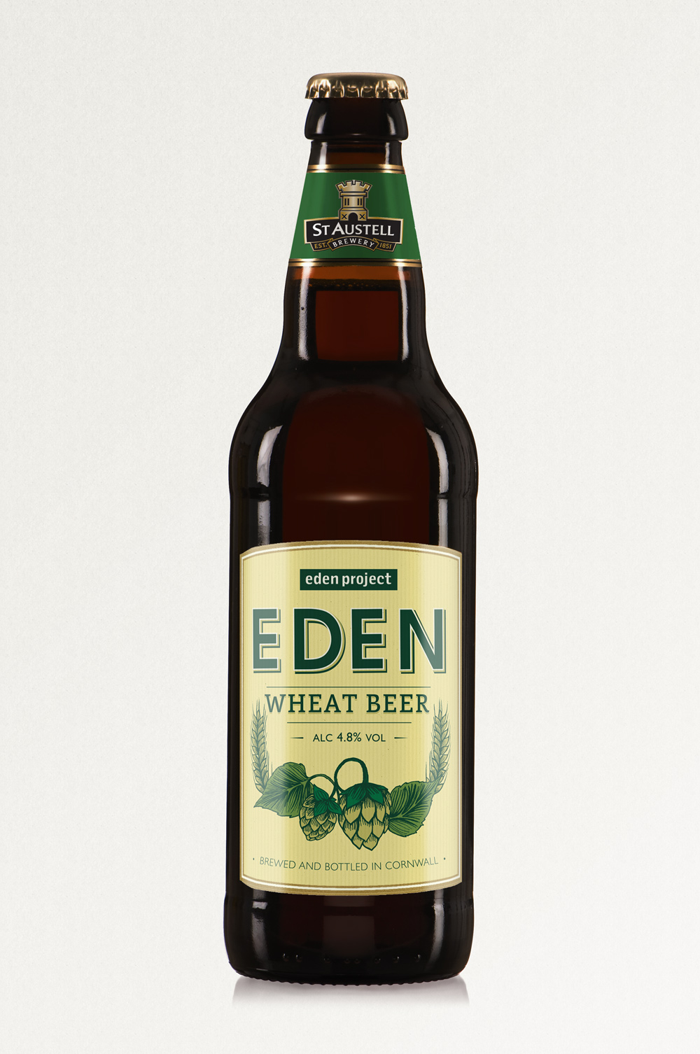 EDEN IPA, St Austell Brewery, wheat beer bottle label design