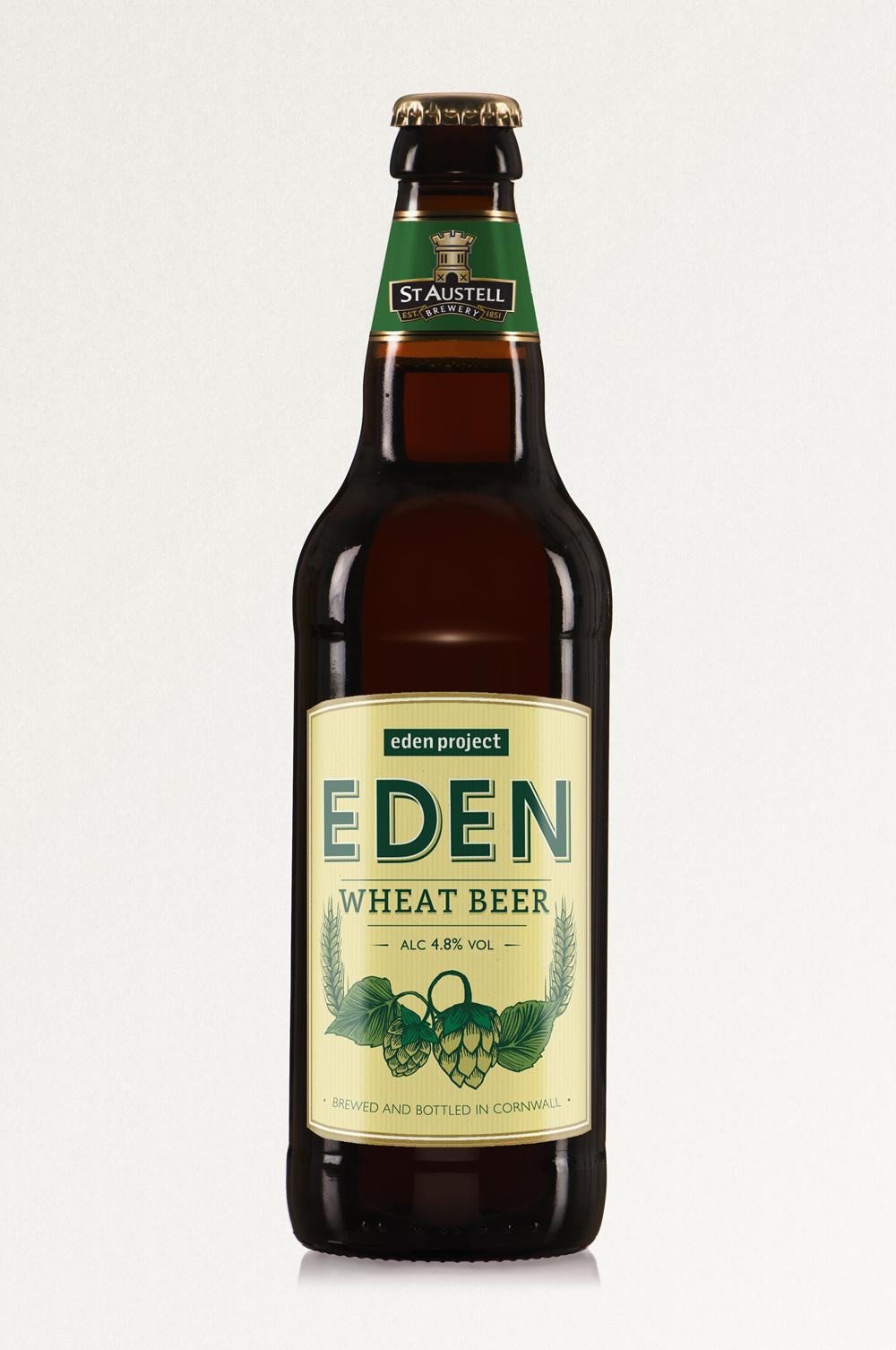 EDEN IPA, St Austell Brewery, wheat beer bottle label design