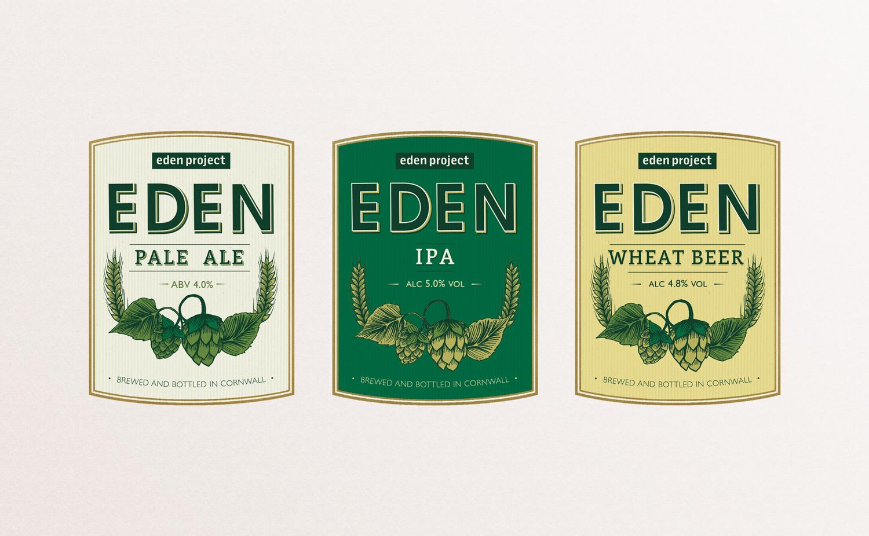 Eden pale ale, ipa, wheat beer label, beer label design