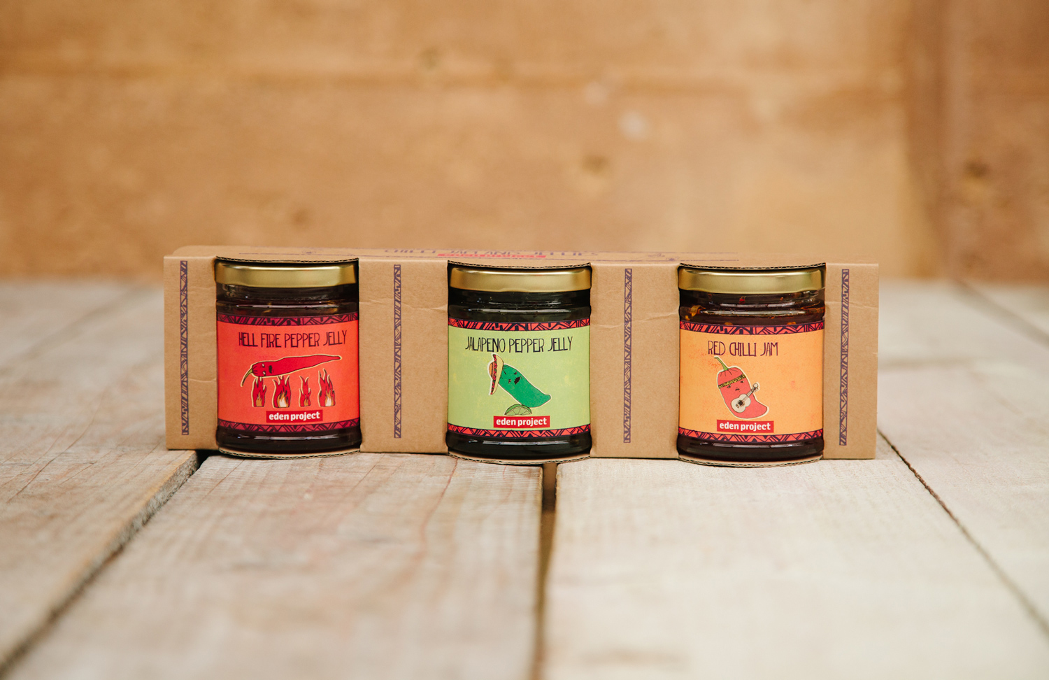 Eden Project Chilli Jelly and Jam packaging design, illustration
