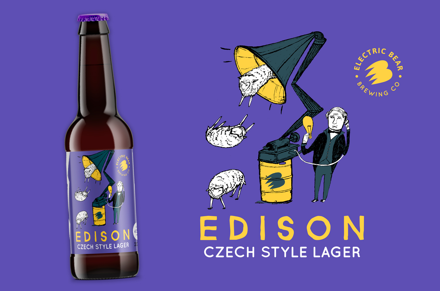 EDISION Czech Lager Electric Bear Brewing, Electric Bear Brewing Beer label illustration