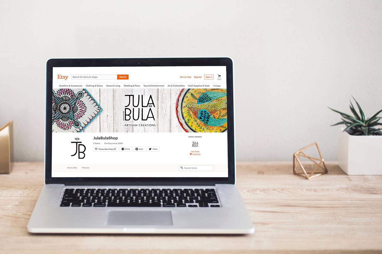 jula bula brand identity esty shop on macbook pro