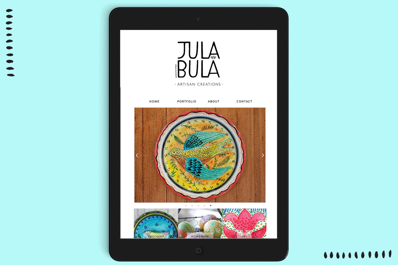 Julabula brand identity website on ipad