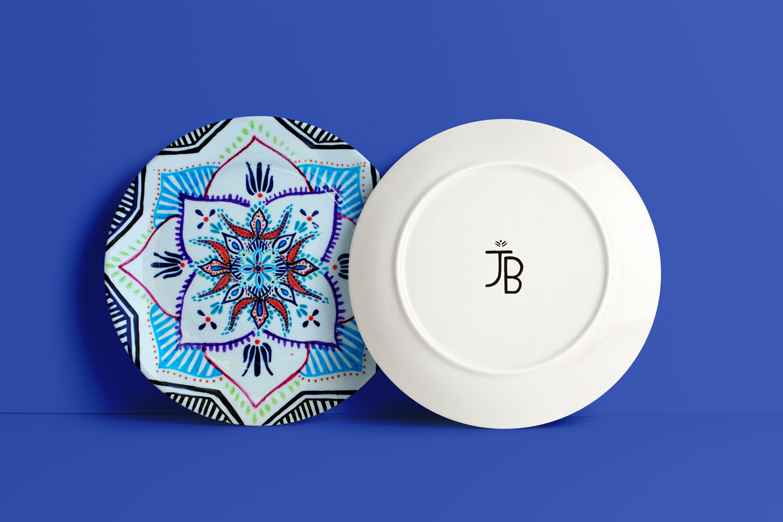 hand painted plate jula bula indian pattern