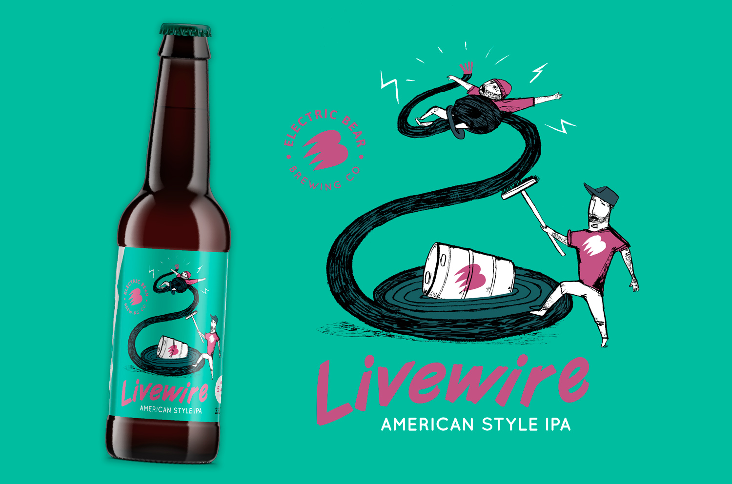 Electric Bear Brewing Beer label illustration Livewire American IPA Electric Bear Brewing
