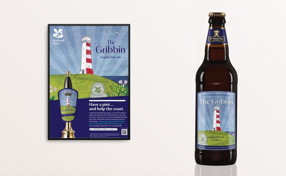 The Gribbin National Trust Beer label and pumpclip design and illustration