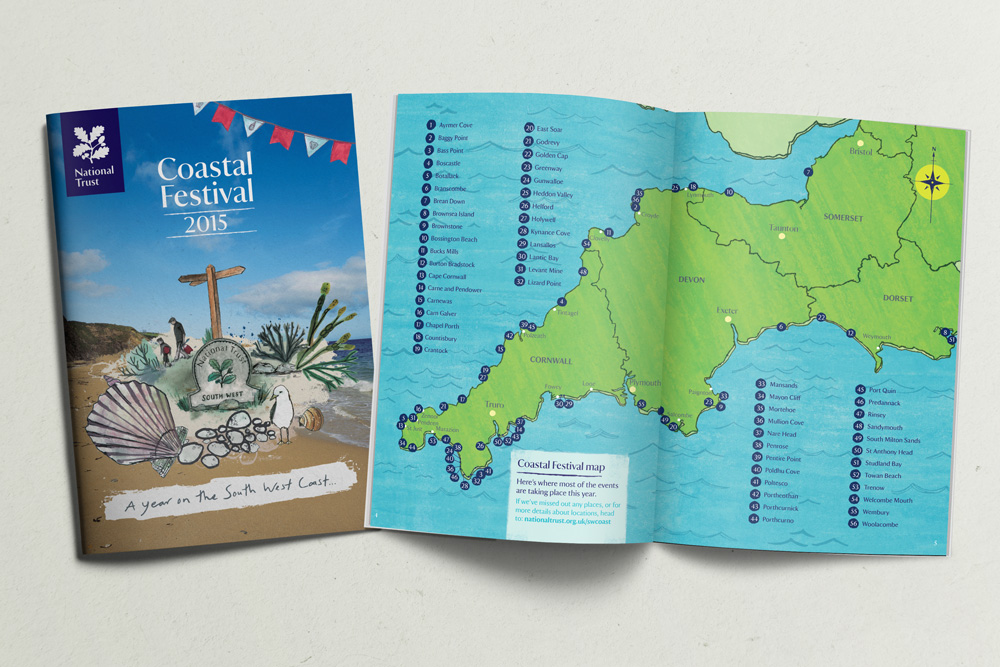 Coastal Festival National Trust Booklet Design A5 Cornwall Map