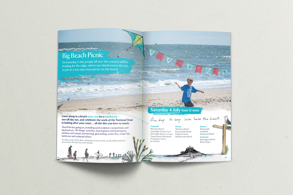 South West Coastal Festival National Trust Booklet Design, boat with kite, seaside illustration
