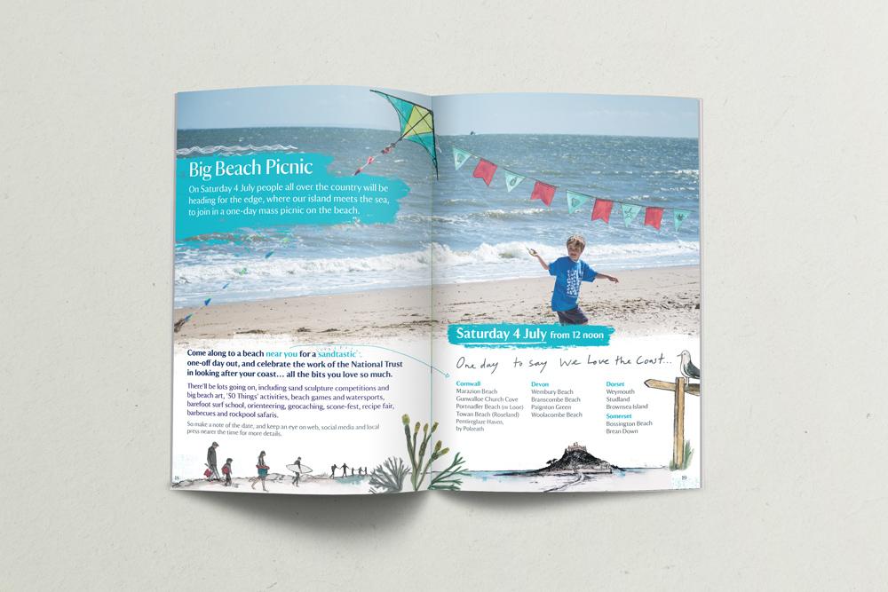 South West Coastal Festival National Trust Booklet Design, boat with kite, seaside illustration