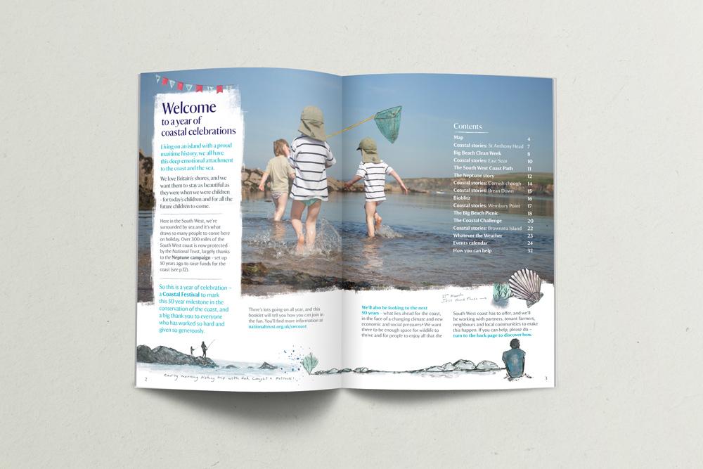 Coastal Festival National Trust booklet, seaside illustration, rock pool illustration