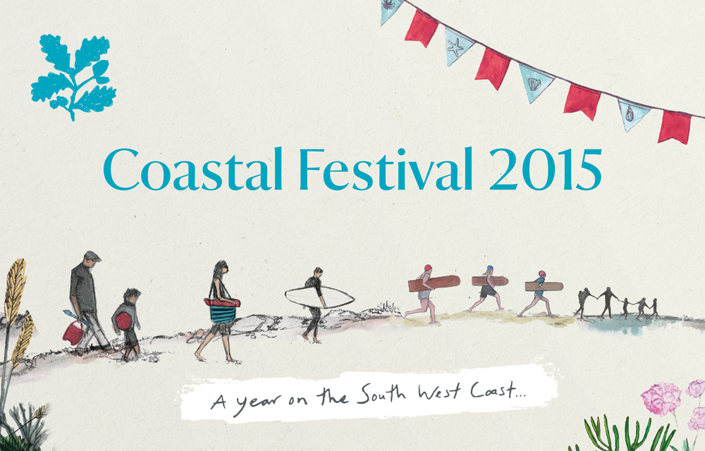 Coastal Festival National Trust Illustration of people walking down to the sea