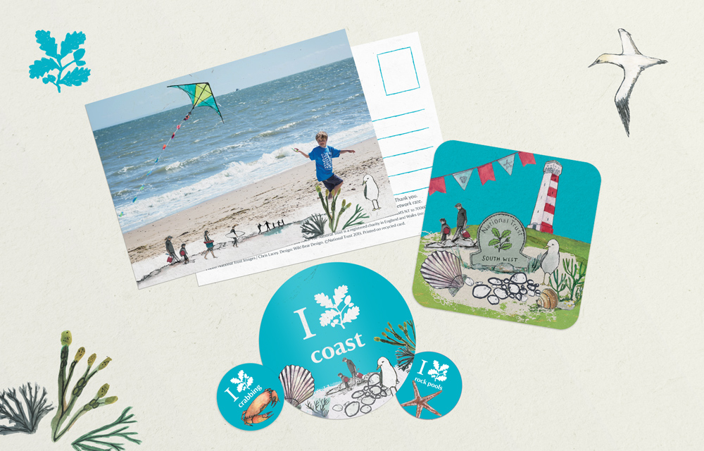 National Trust Southwest Coastal Festival design, coaster, postcard, branding