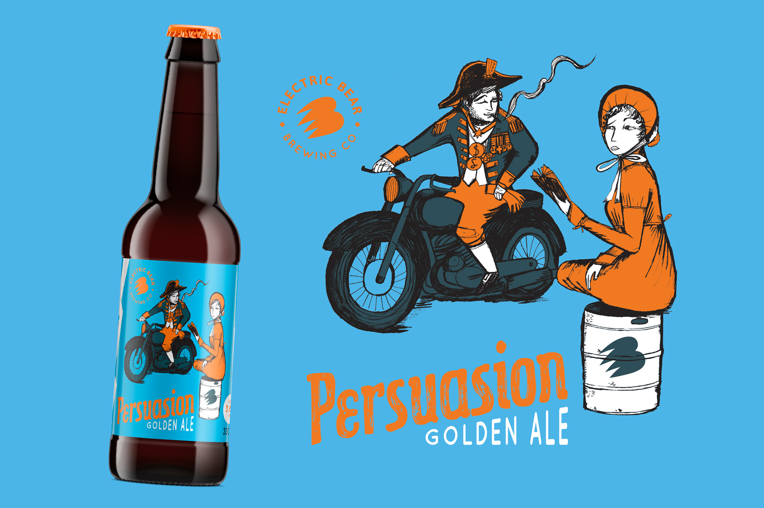 Persuasion Ale Electric Bear Brewing, Electric Bear Brewing Beer label illustration