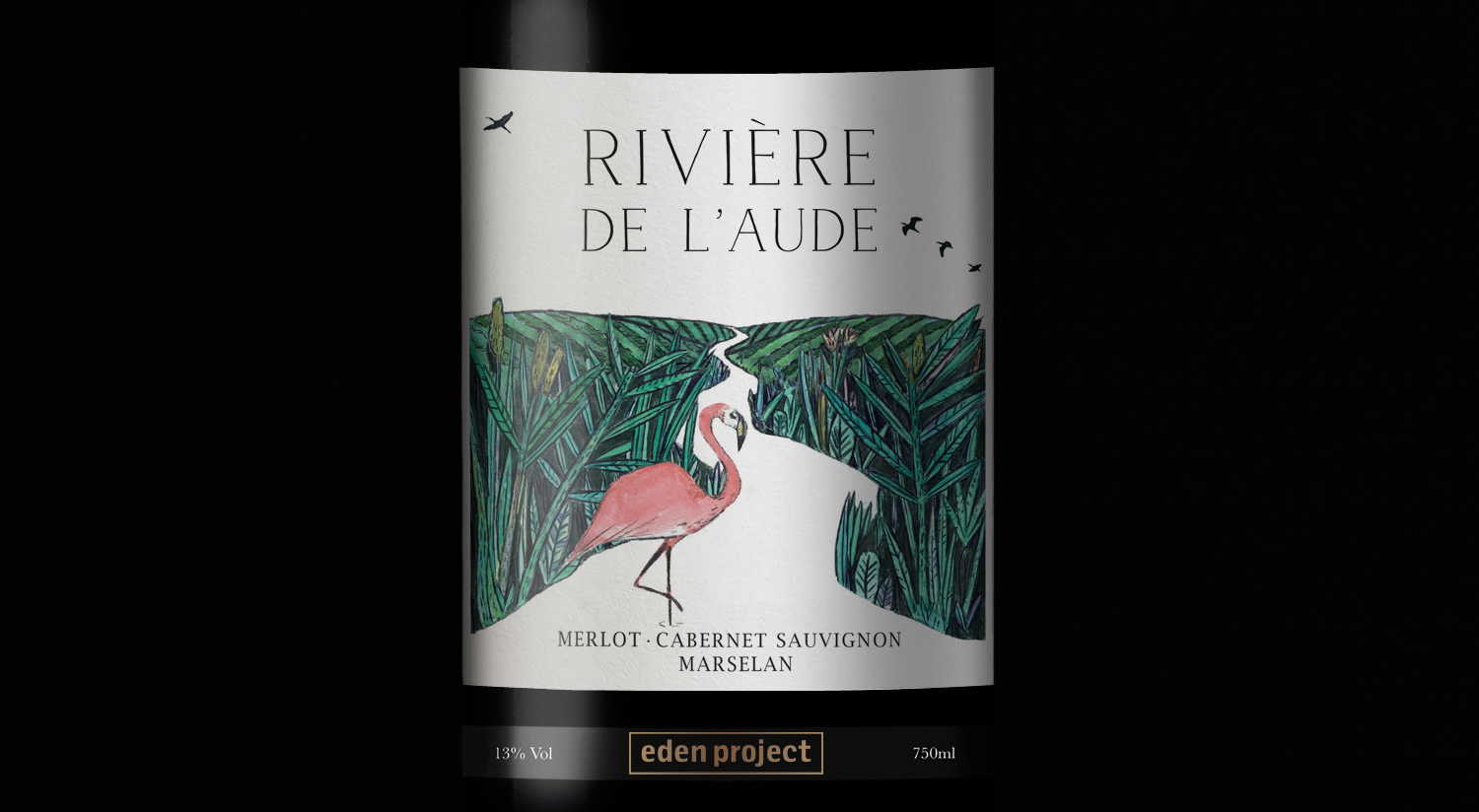 Riviere De L'aude Red wine label Eden project wine, red wine label design, illustration, flamingo, walter hicks, eden project