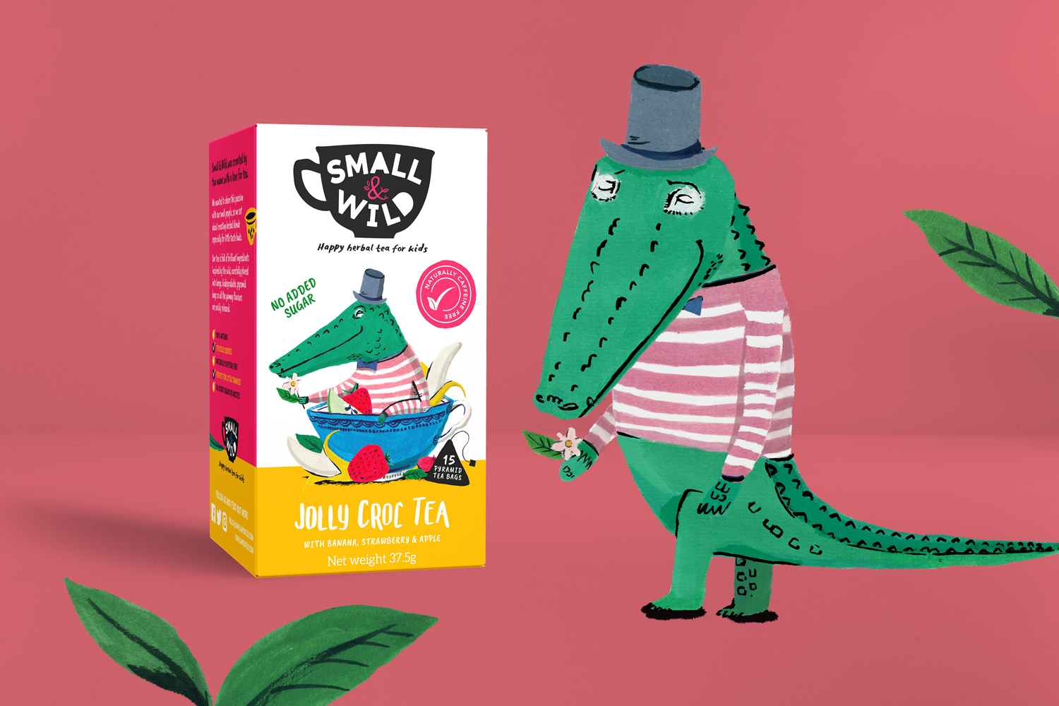 Small & Wild tea for children packaging design, crocodile painted illustration by Wild Bear designs