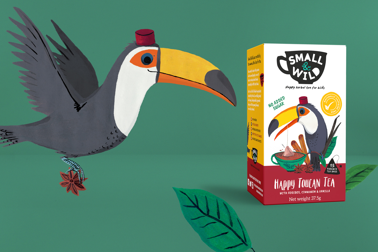 Small & Wild herbal tea painted toucan illustration for packaging design by Wild Bear Designs