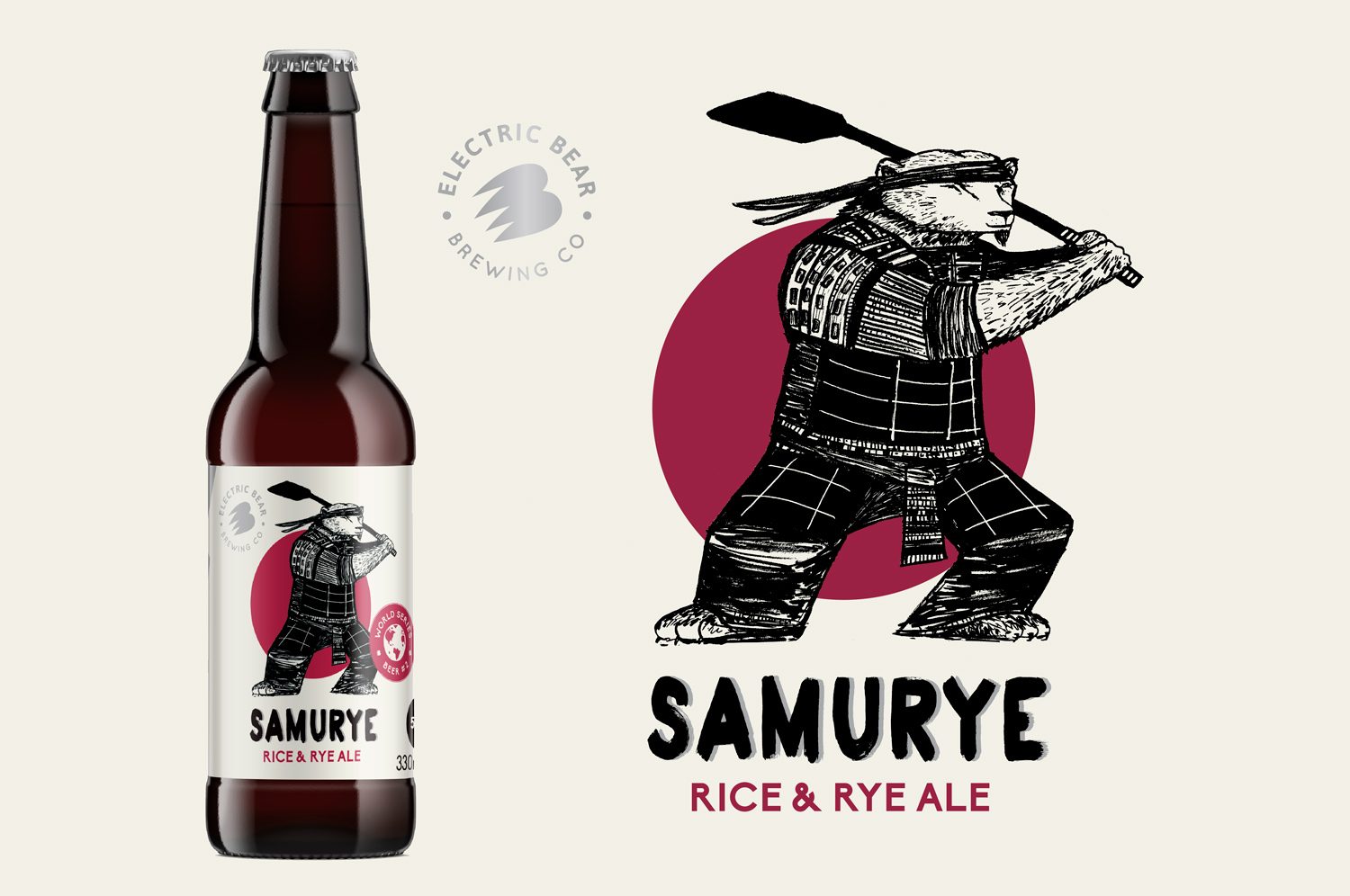 Samurye bottle design by Electric Bear Brewing
