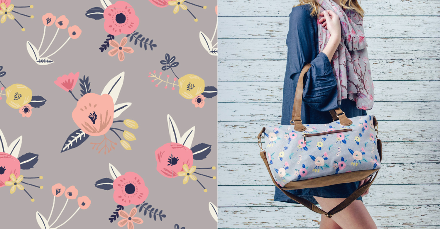 Surface Pattern Print - floral bag design for F&J collection AW 2017