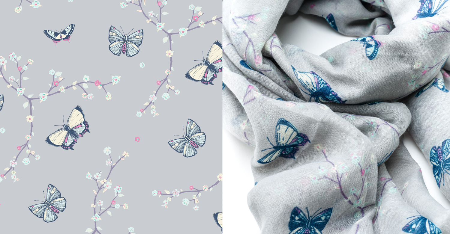 Grey Butterfly butterflies blossom Scarf Surface pattern design textile illustration