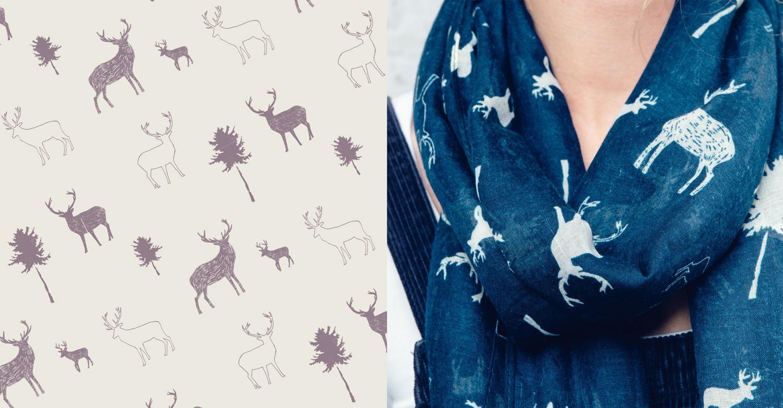 Deer pattern, stag design, winter Scarf, reindeer pattern, scarf design