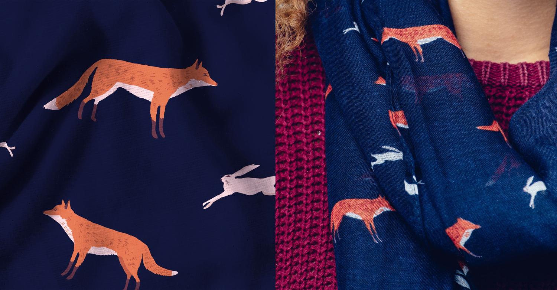 Fox pattern, fox and hare pattern, fox illustration, navy blue scarf, fox scarf, repeat pattern design