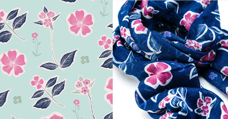 Rose flower Scarf Surface pattern design textile illustration