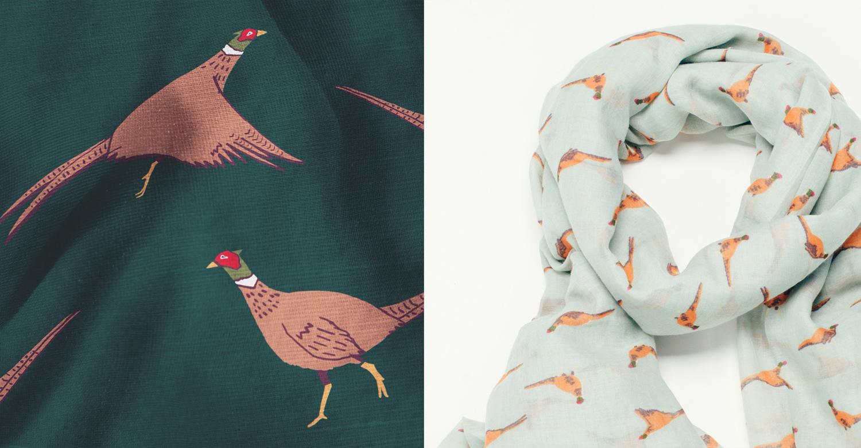 pheasant scarf design, pheasant pattern, Surface pattern design, pheasant illustration, winter AW15