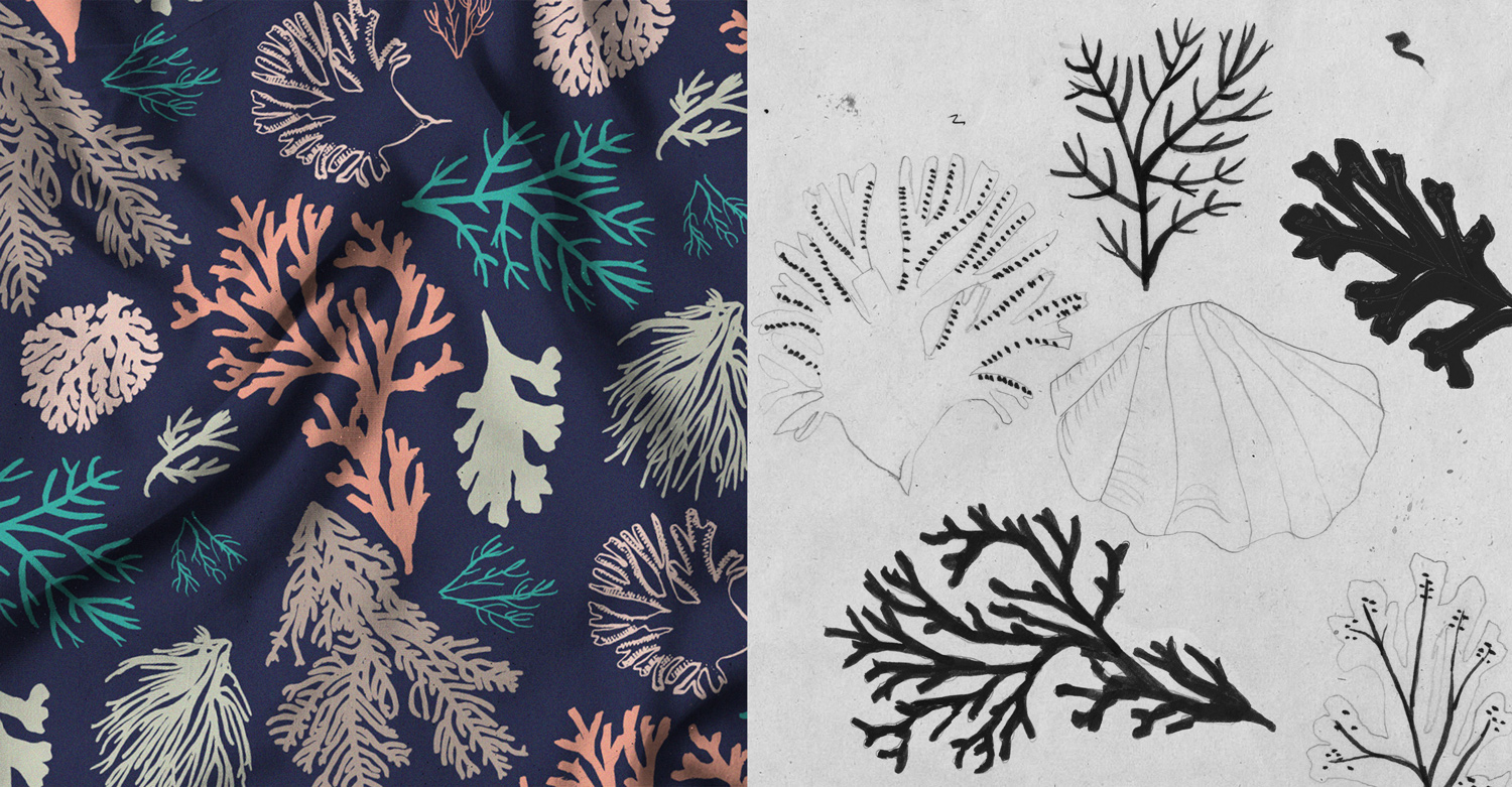 coral illustration, coral pattern, seaweed pattern, Autumn Winter 2016, scarf design