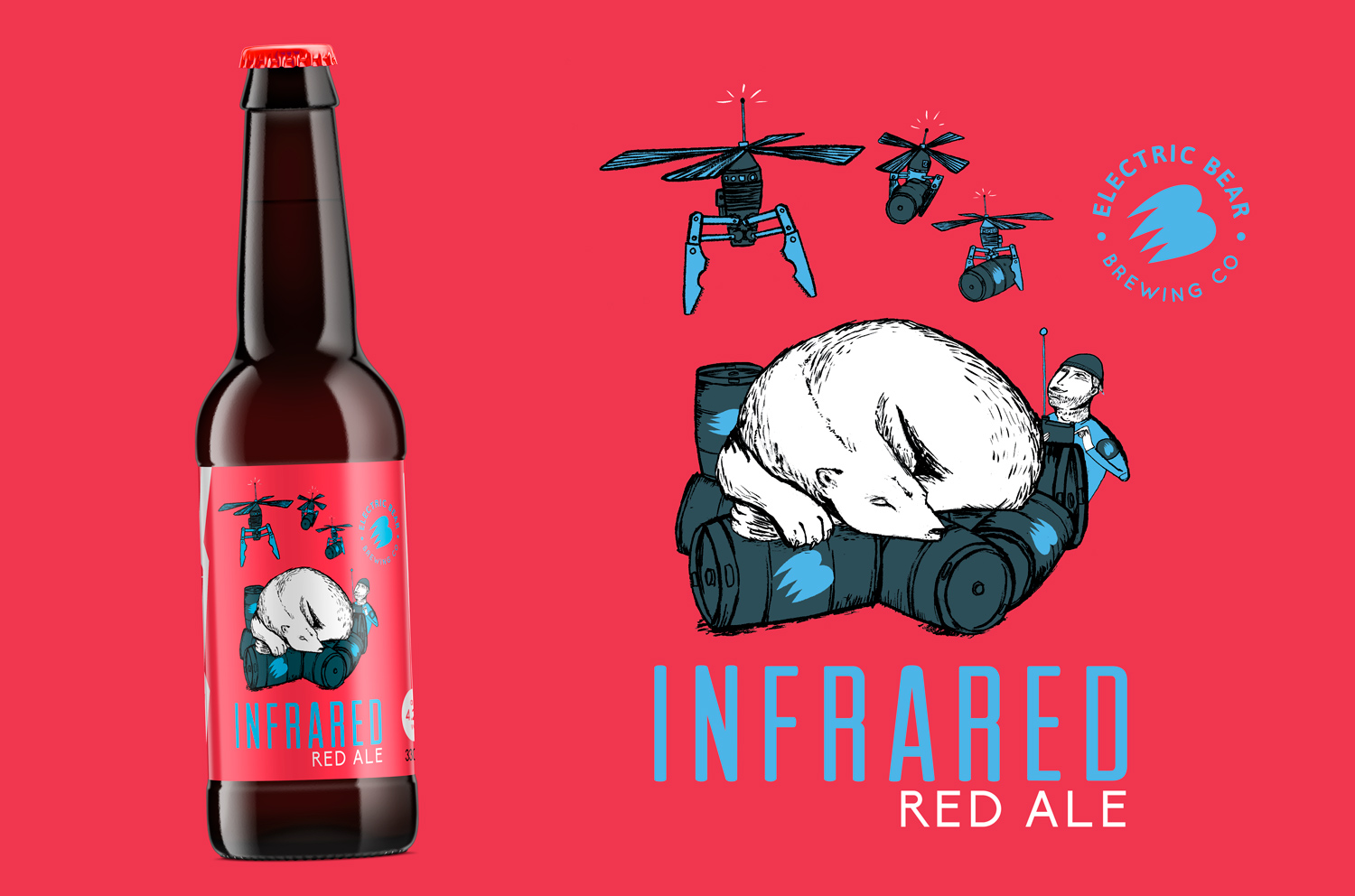Infrared red ale bottle design, bear illustration