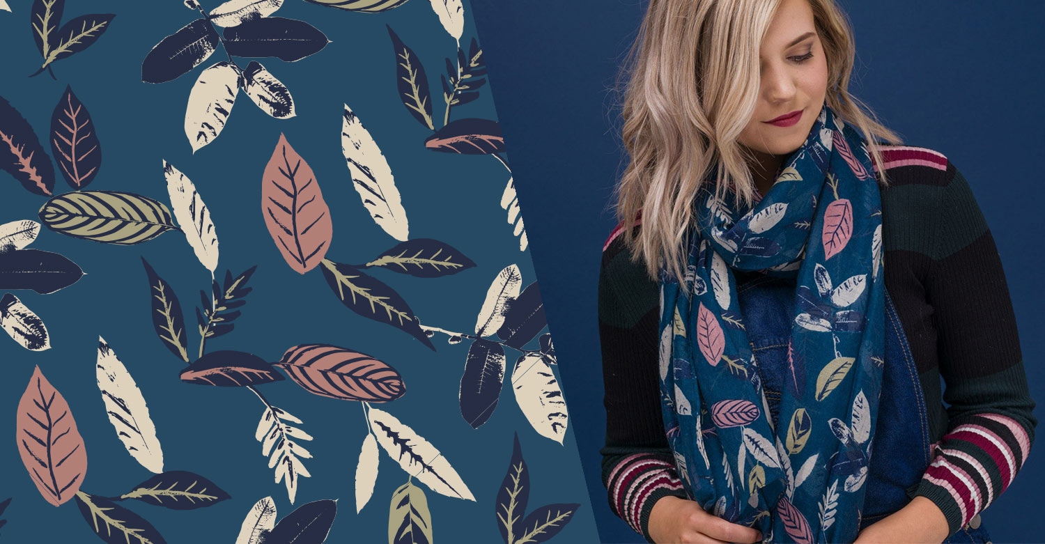 Freelance surface pattern designer-leaf print AW18