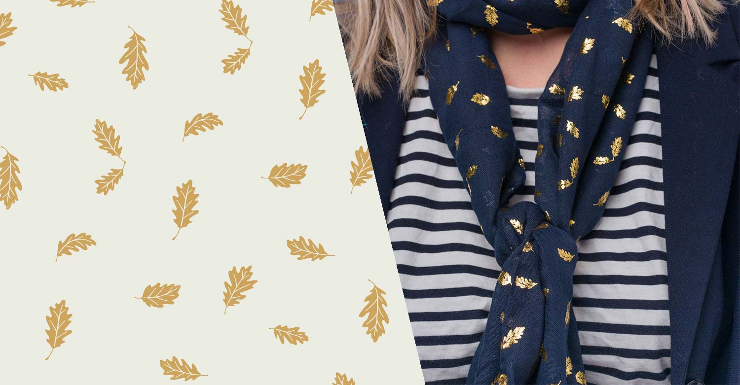 Surface Pattern Print -Oak leaf scarf design - AW18