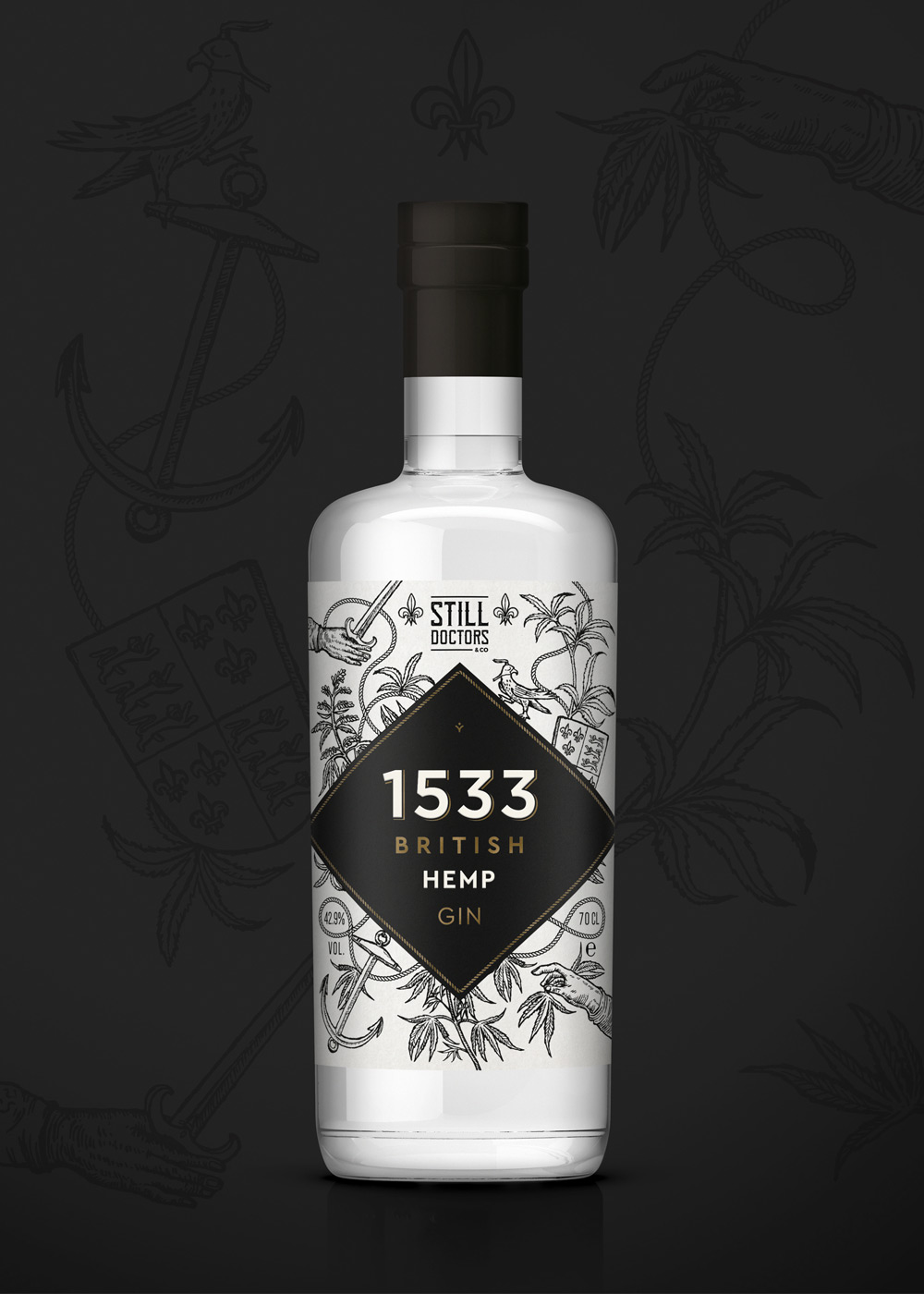 Gin Label design branding-1533 Hemp gin by Wild-Bear-Designs-pic2
