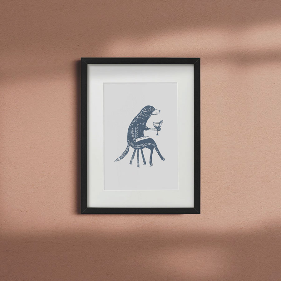 Dog-with-Gin-a4-giclee-print-black-framed