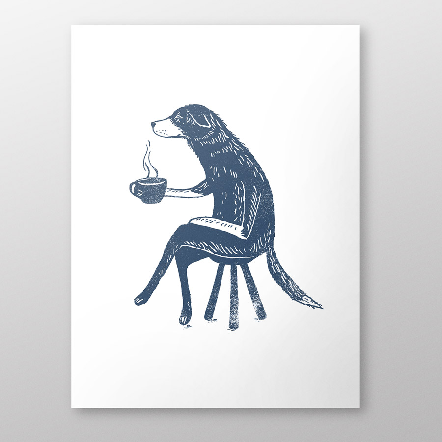 Dog-with-coffee-a4-giclee-print-thumbnail