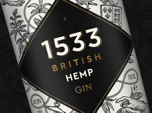 1533 British Hemp Gin Label Design